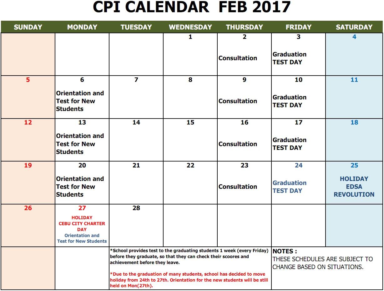 CPI CALENDAR FEB 2017