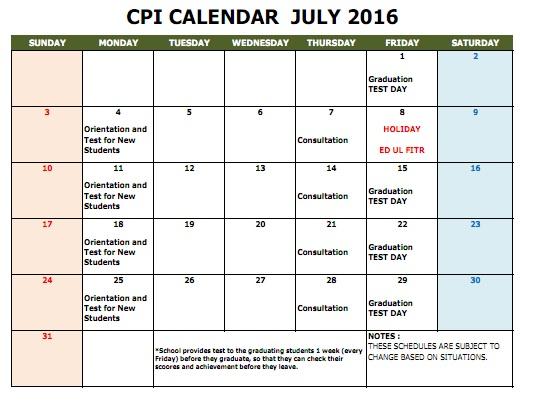 CPI SCHOOL CALENDAR 2016 JULY