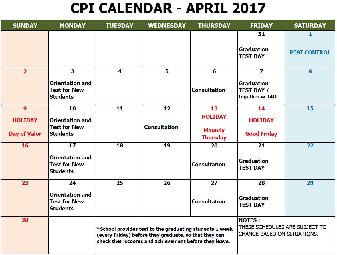 CPI SCHOOL CALENDAR 2017 APRIL