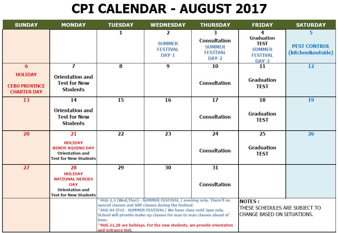 CPI SCHOOL CALENDAR 2017 AUGUST