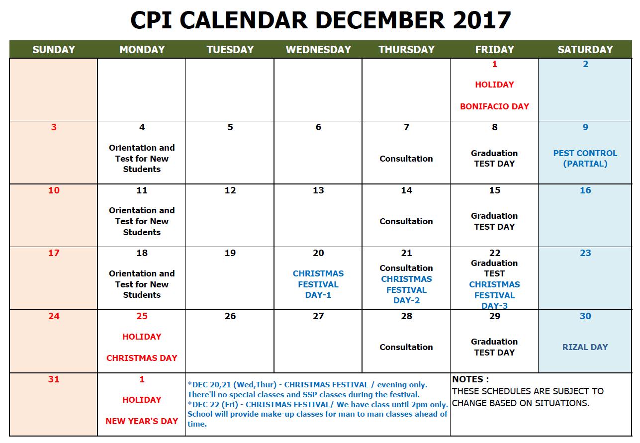 CPI SCHOOL CALENDAR 2017 DEC