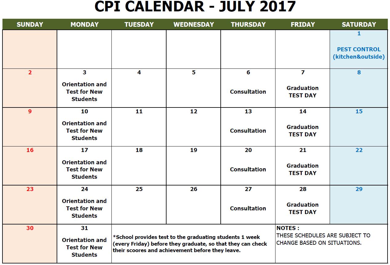 CPI SCHOOL CALENDAR 2017 JULY
