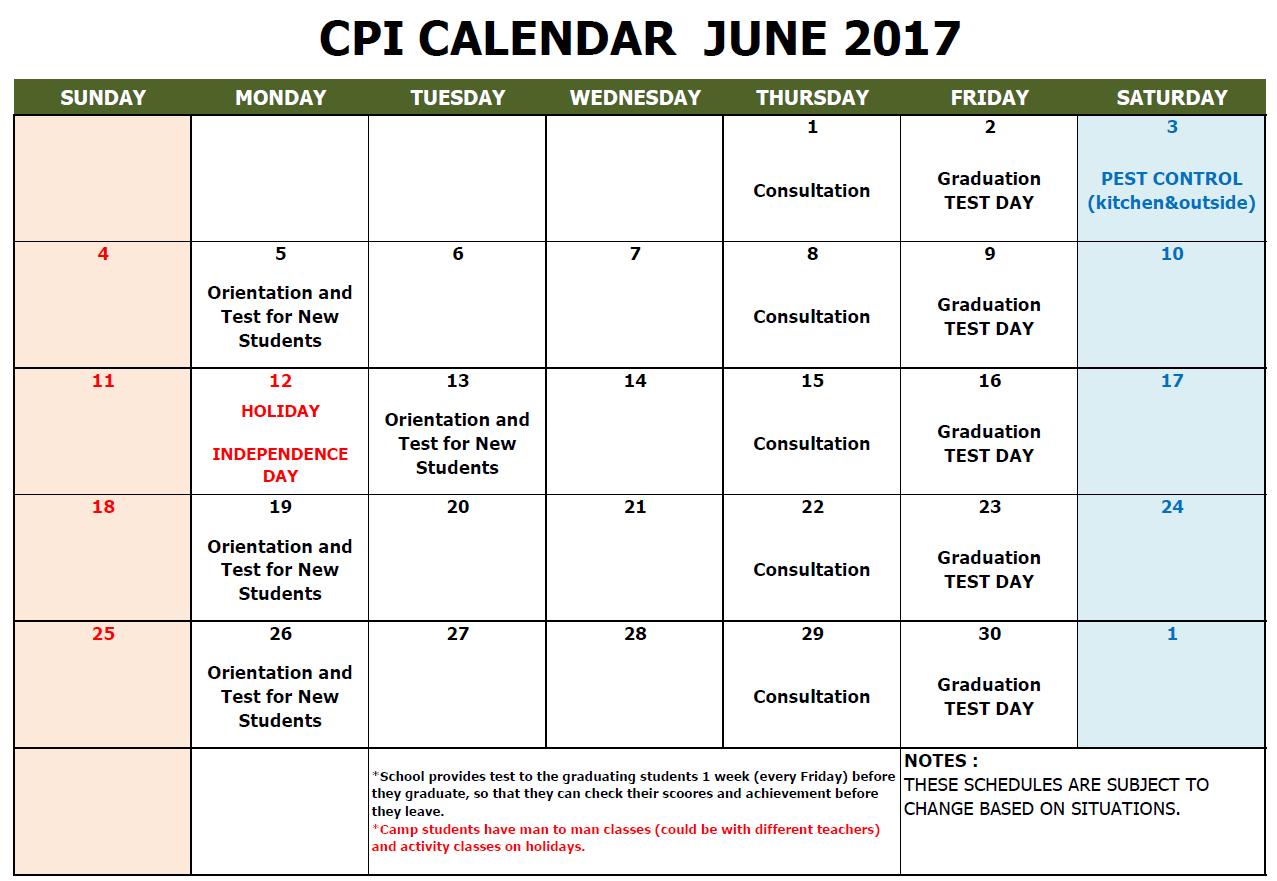 CPI SCHOOL CALENDAR 2017 JUNE