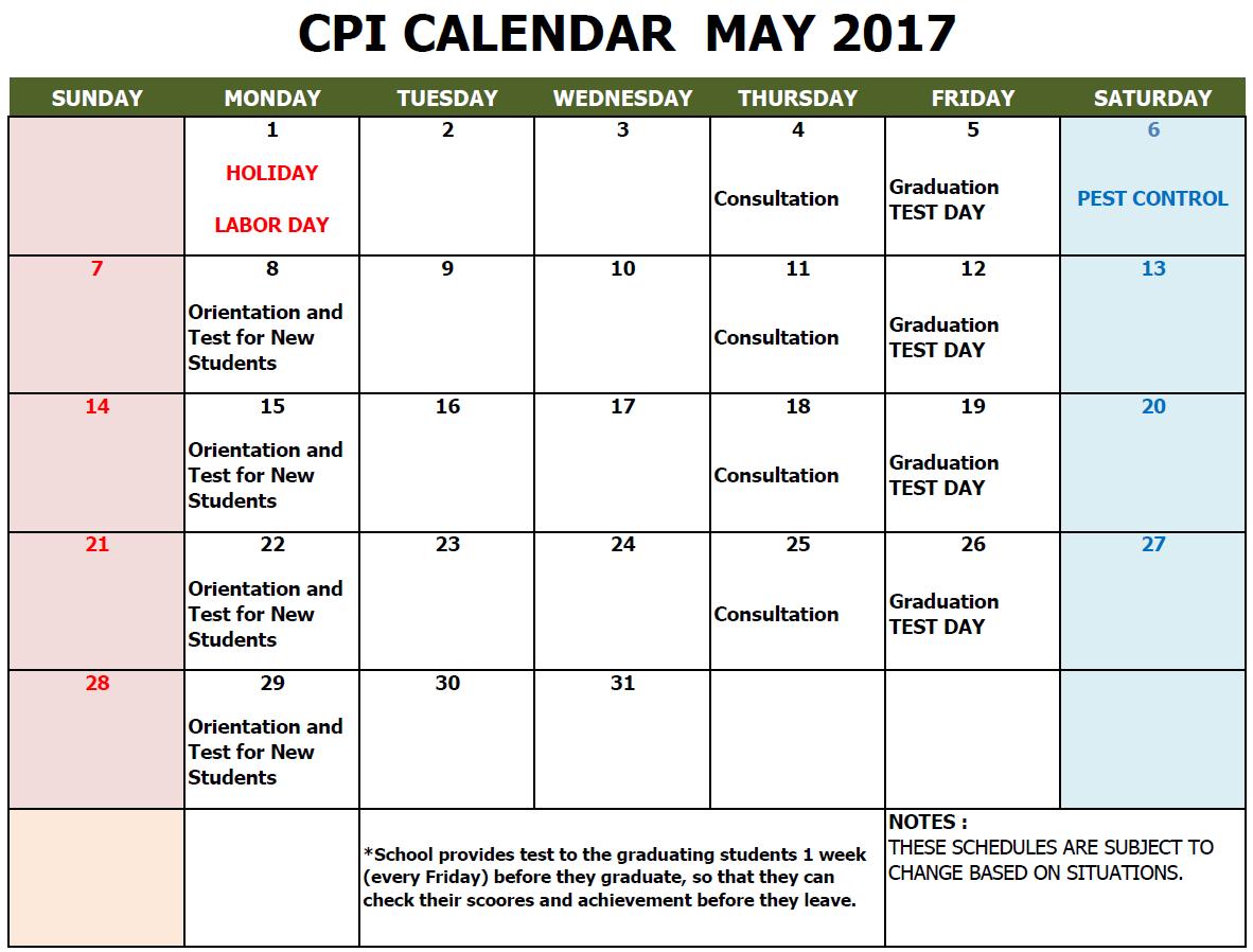 CPI SCHOOL CALENDAR 2017 MAY