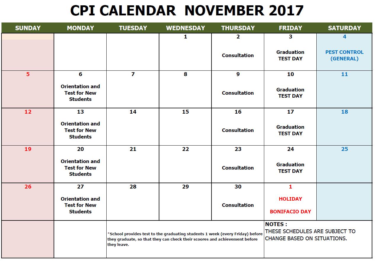 CPI SCHOOL CALENDAR 2017 NOV