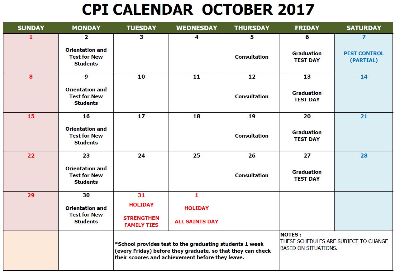 CPI SCHOOL CALENDAR 2017 OCT