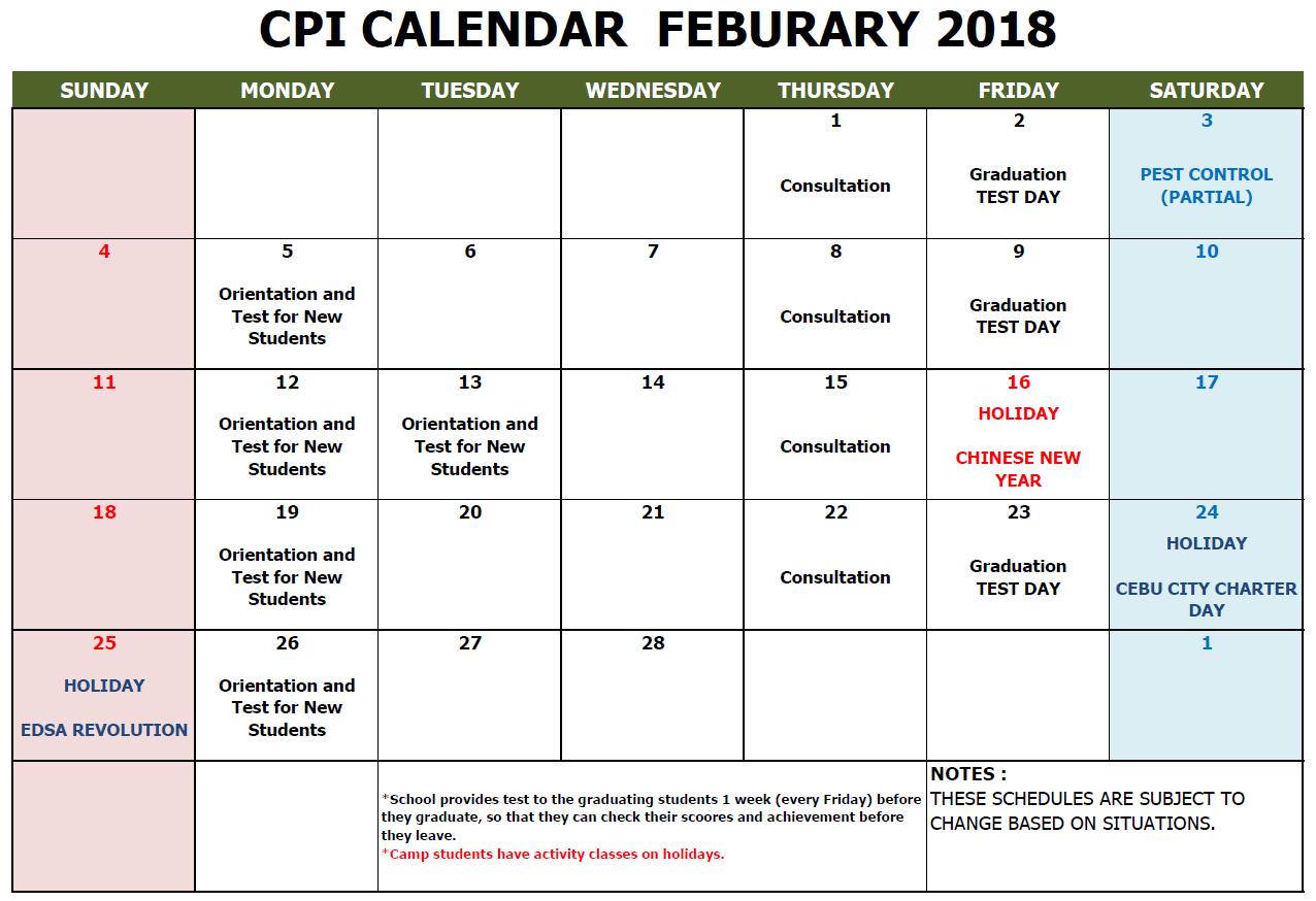 CPI SCHOOL CALENDAR 2018 FEB