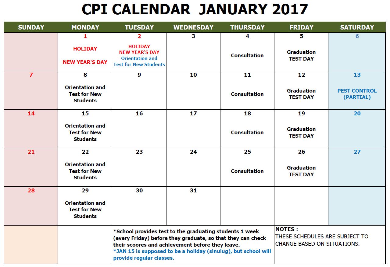 CPI SCHOOL CALENDAR 2018 JAN