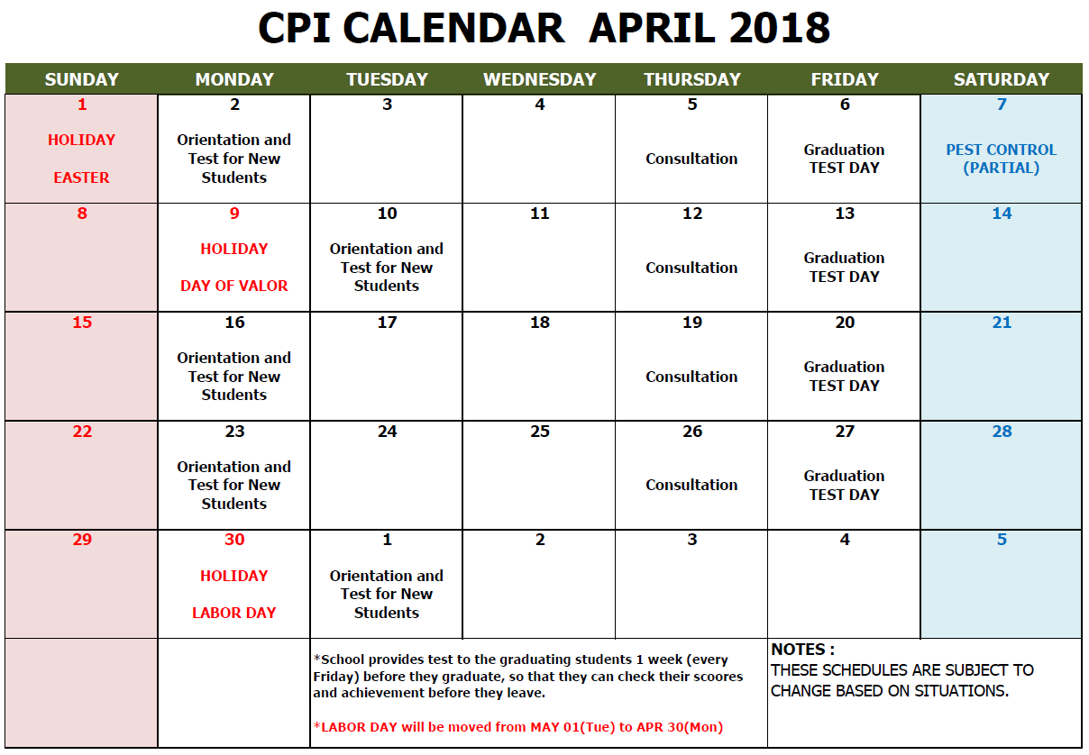 CPI SCHOOL CALENDAR APRIL 2018