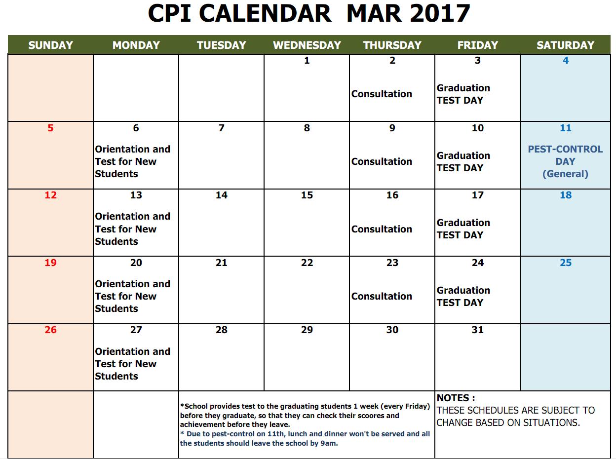 CPI SCHOOL CALENDAR MARCH 2017
