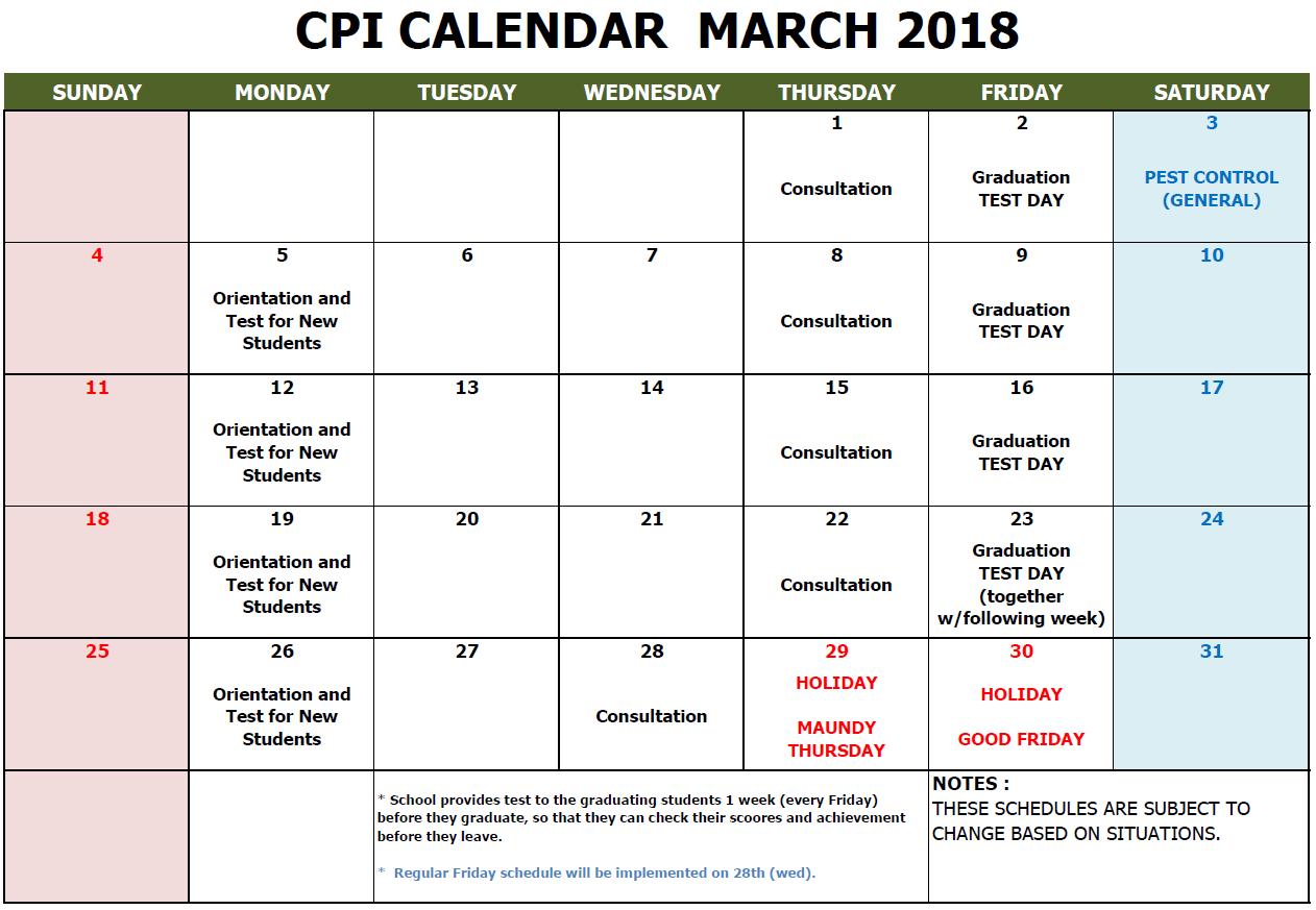 CPI SCHOOL CALENDAR MARCH 2018